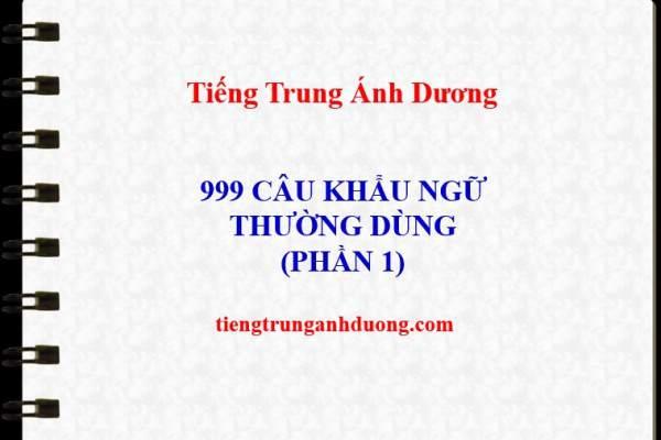 999 câu khẩu ngữ tiếng Trung thông dụng (p1)